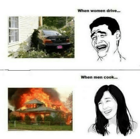 Funny pictures when women  drive and when men cook