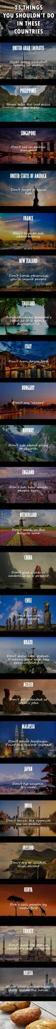 25-Things You Shouldn't Do In These Countries